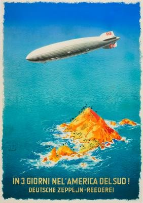 Travel Poster Graf Zeppelin HAPAG America Wiertz