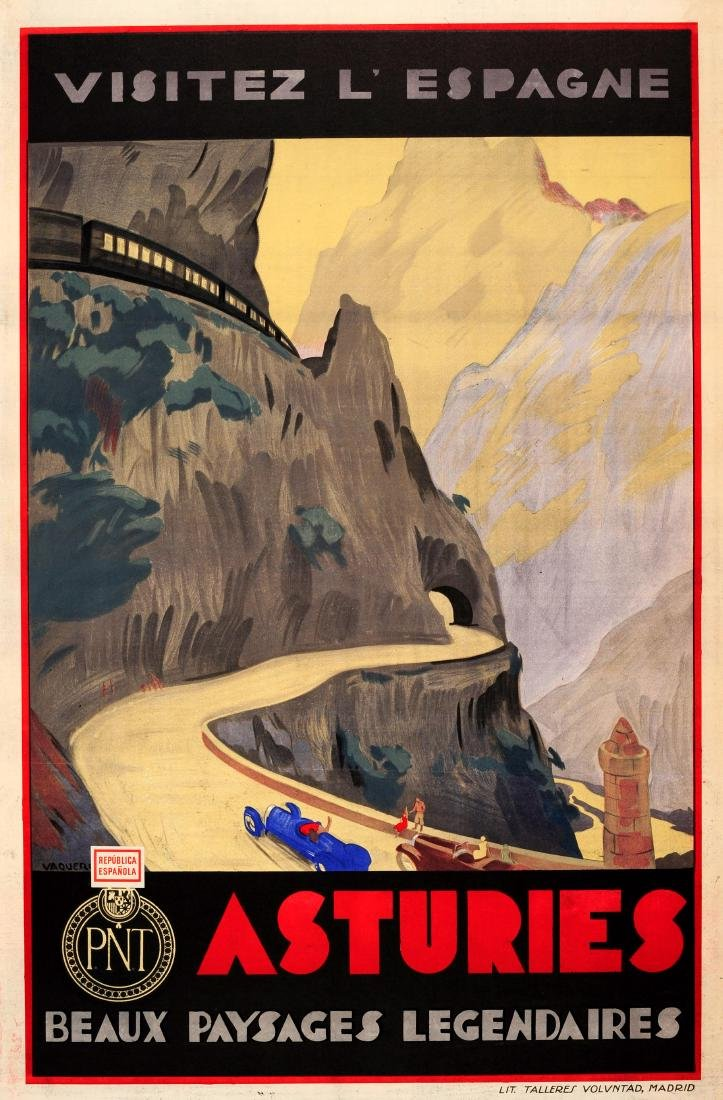 Travel Poster Visit Spain Asturias Art Deco Cars