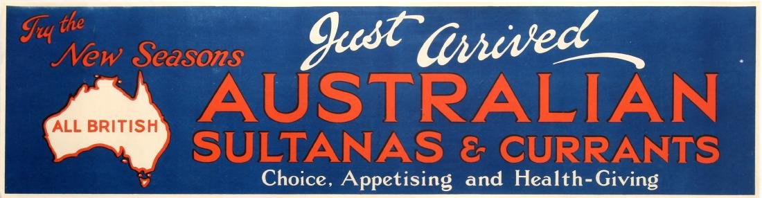 Advertising Poster Australian Sultanas Currants
