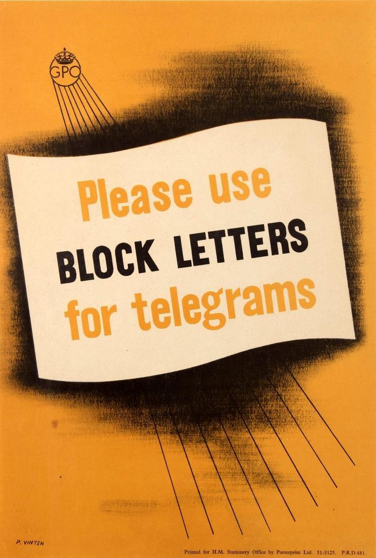 Advertising Poster Block Letters For Telegrams GPO