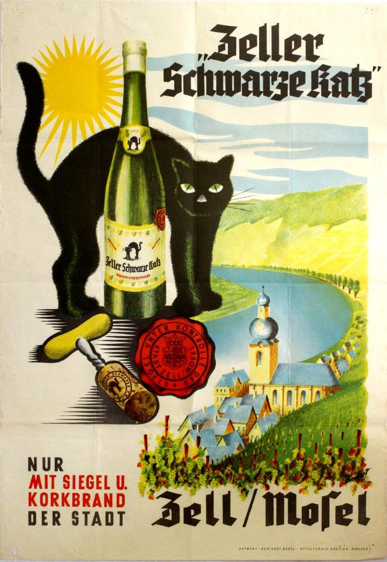 Advertising Poster Zeller Schwarze Katz Black Cat Wine