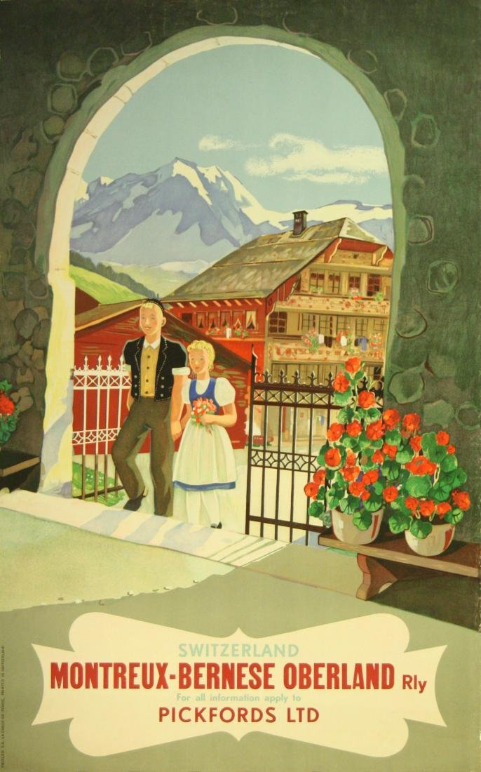 Travel Poster Switzerland MOB Railway