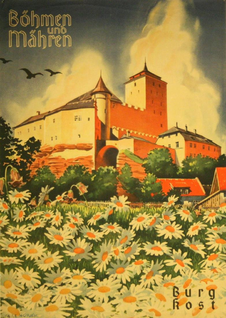 Travel Poster Bohemia and Moravia, Kost Castle