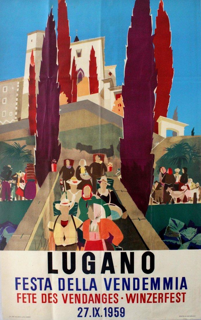 Travel Poster Lugano Switzerland 1959