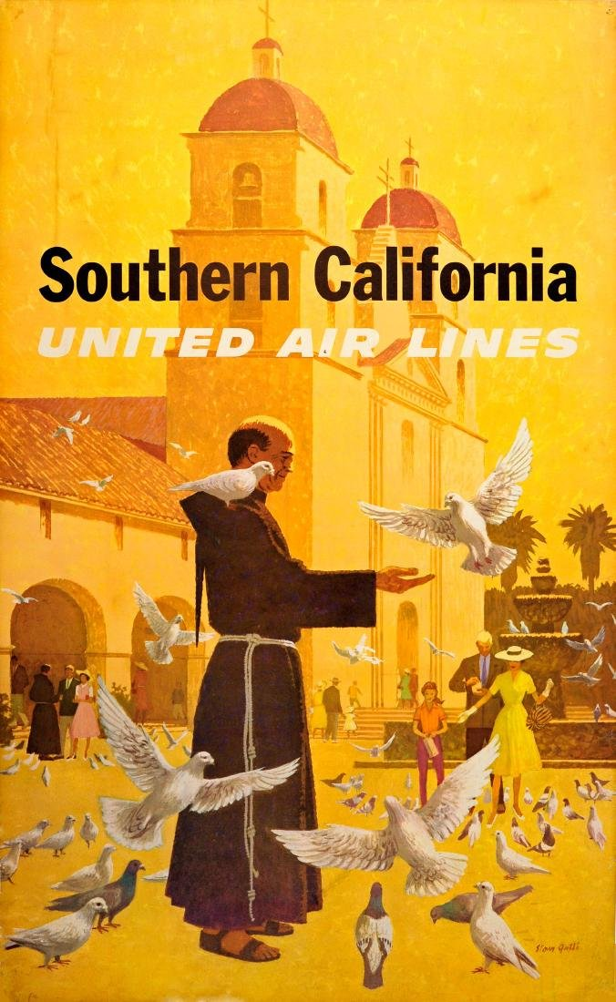 Travel Poster Southern California United Airlines Galli