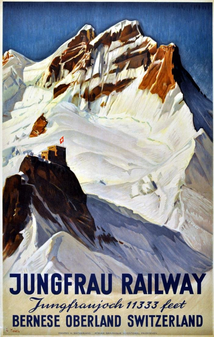 Ski Poster Jungfrau Railway Montreux Oberland Bernois