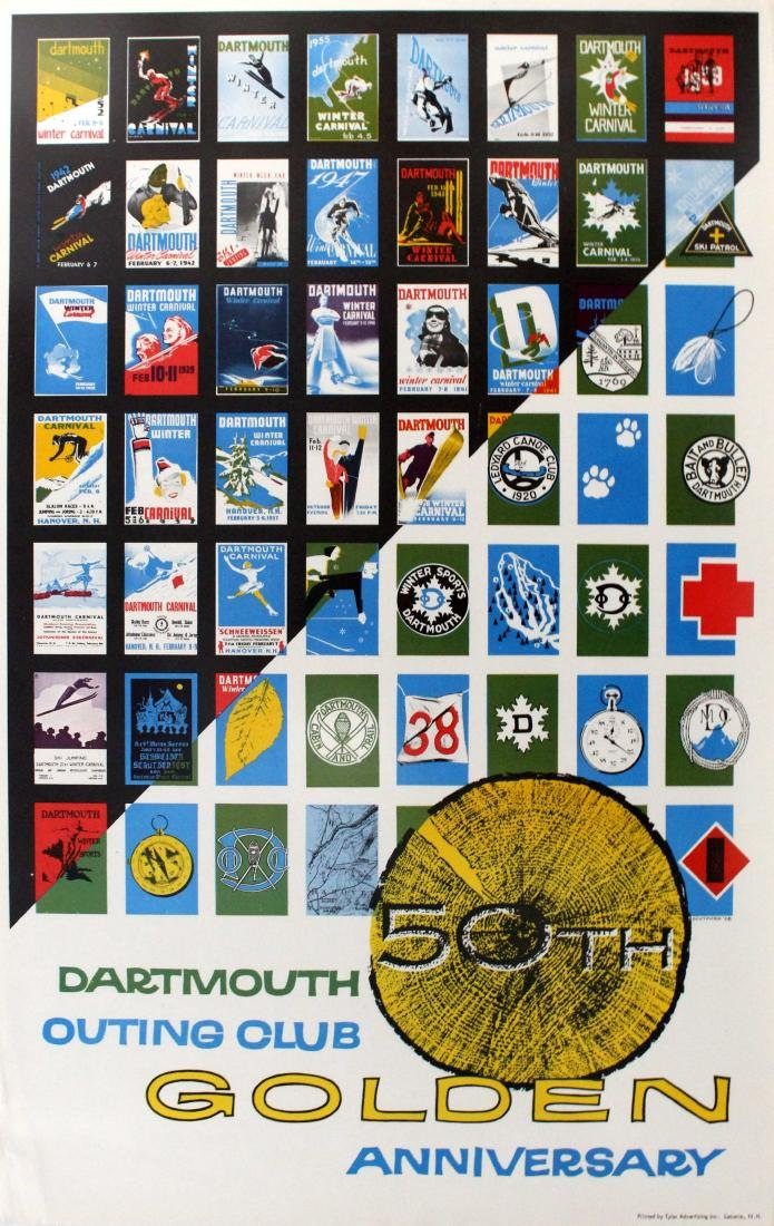 Ski Poster Dartmouth Outing Club 50 Anniversary