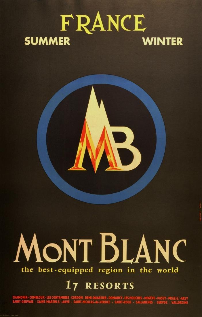 Ski Poster Mont Blanc 17 Ski Winter Summer Resorts