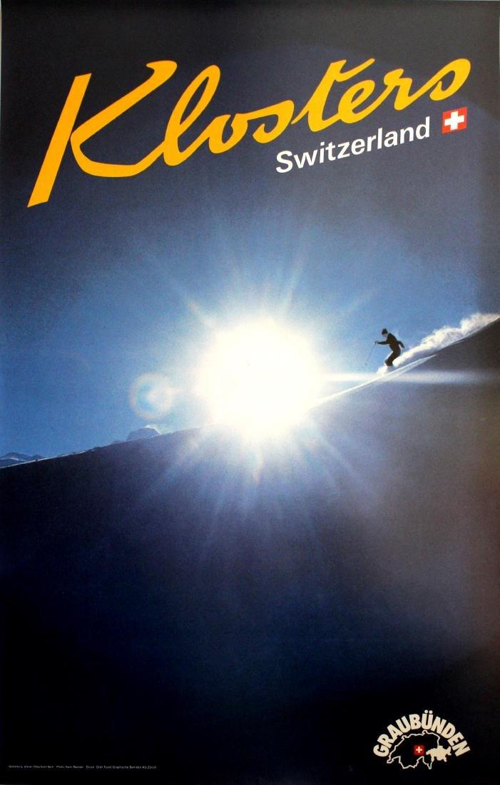 Ski Poster Klosters Skiing Switzerland