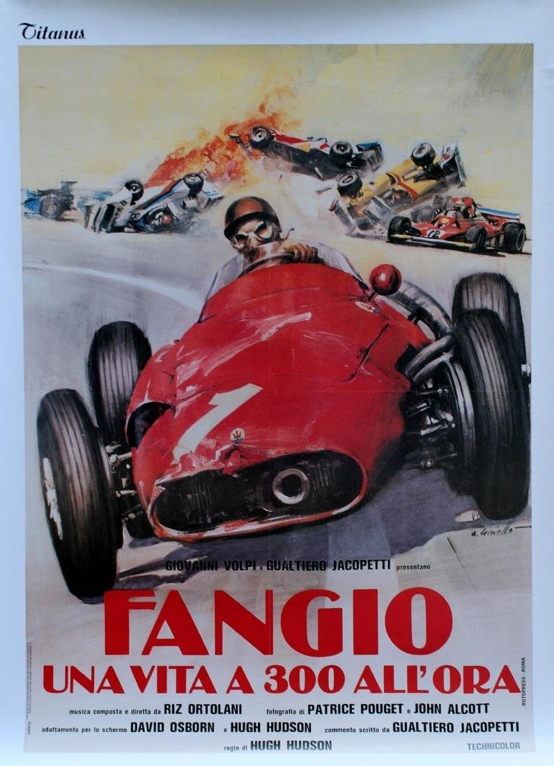 Sport Poster Fangio Car Racing