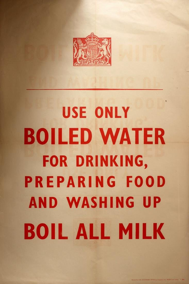 War Poster Use Only Boiled Water WWII