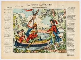 Advertising Poster Epinal Print The young boatwoman or