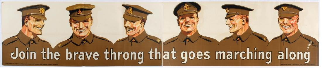 WWI Propaganda Poster Join the brave throng that goes