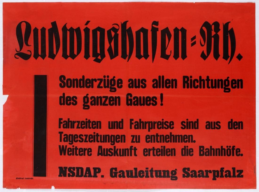 Nazi Propaganda Poster Ludwigshafen Railway Information