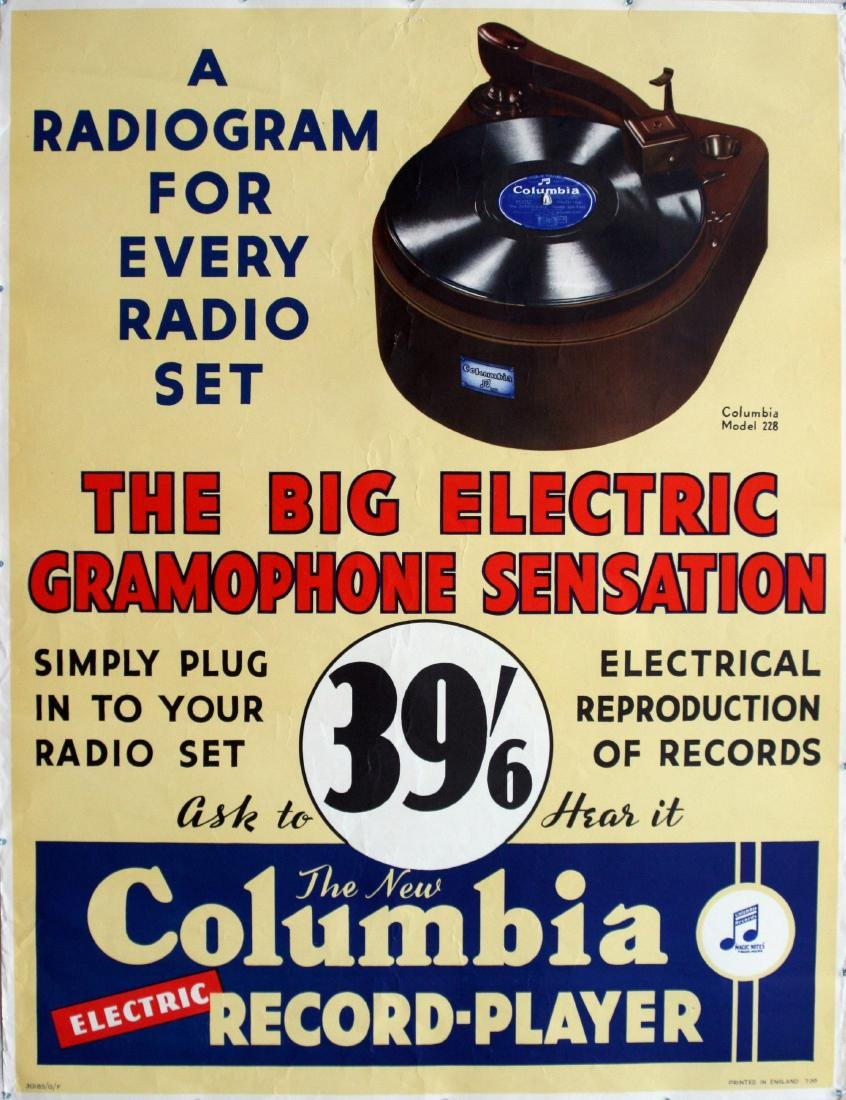 Advertising Poster Columbia Electric Record Player