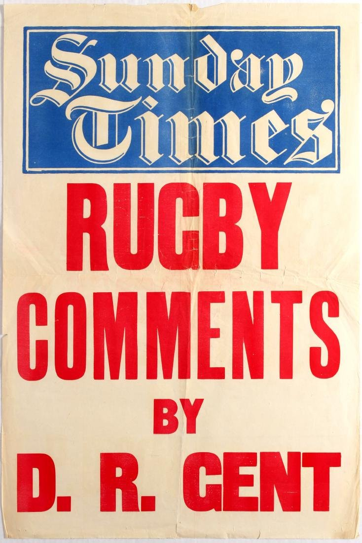 Advertising Poster Sunday Times Rugby Comments by D. R.