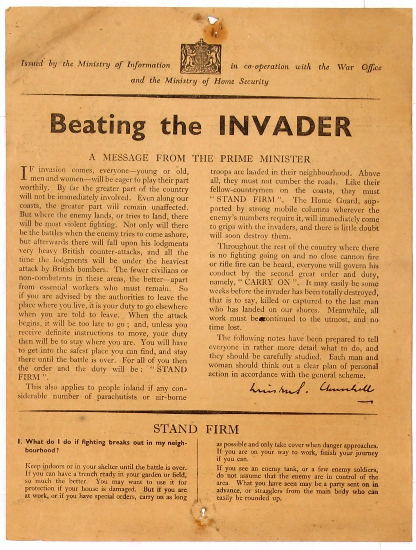 War Propaganda Leaflet Beating the Invader WWII