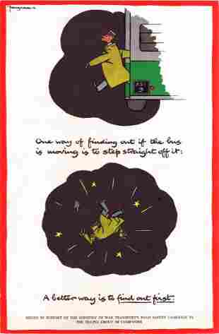 War Poster Road Safety WWII Moving Bus Fougasse