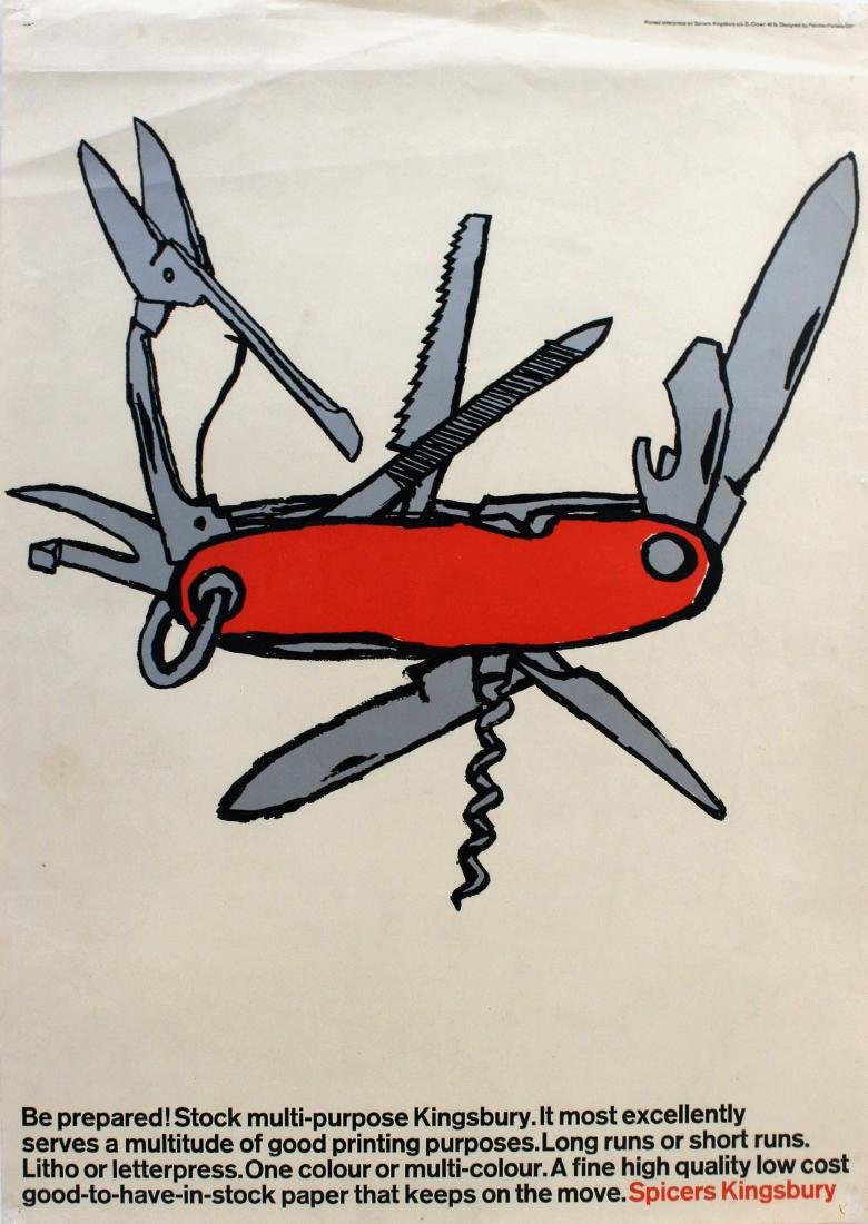 Advertising Poster Spicers Kingsbury Swiss Army Knife