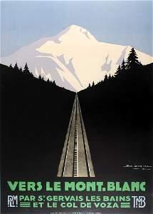 Travel Poster Set of 3 Mont Blanc Geo Dorival Art Deco