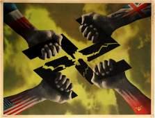War Poster WWII Victory Hands Breaking Nazi Swastika