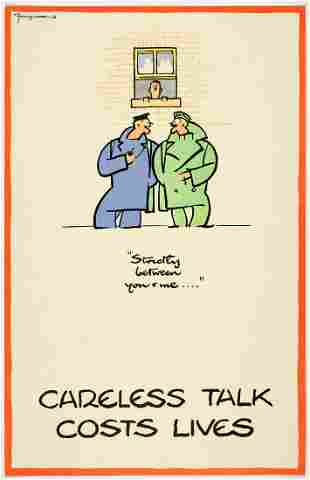 WWII Poster Careless Talk Fougasse Strictly between you