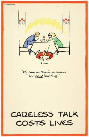WWII Poster Careless Talk Fougasse Restaurant Of course