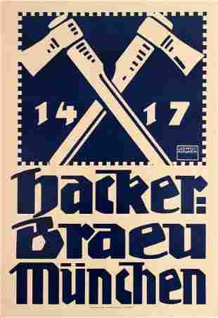 Advertising Poster Hackerbraeu Beer Ludwig Hohlwein