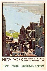 Travel Poster New York Central System Lower Manhattan