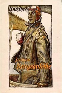 War Poster Biplane Pilot WWI War Loan Germany Small