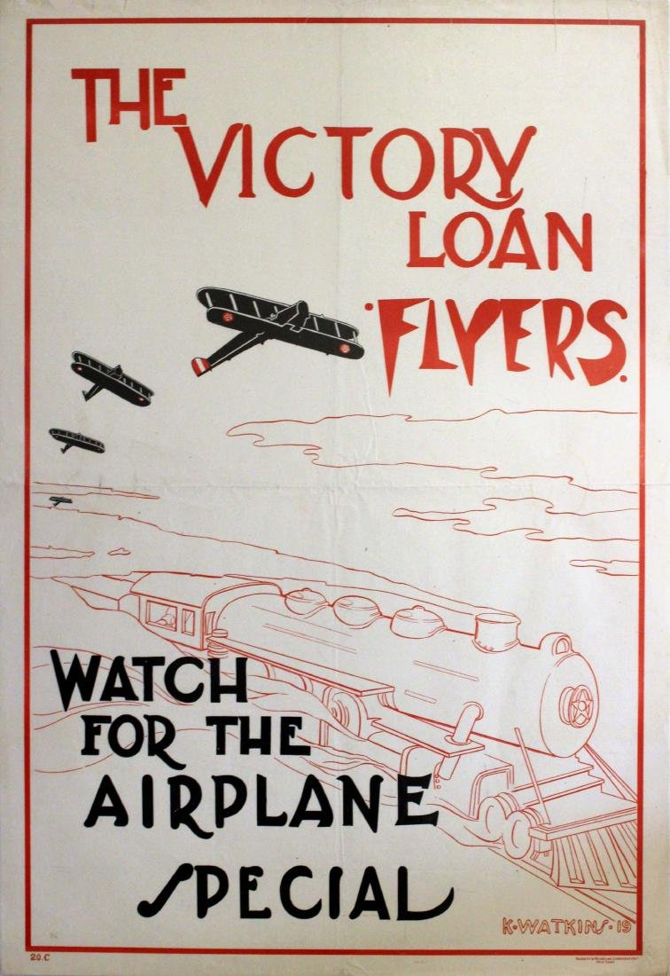 War Poster WWI Victory Loan Flyers Aeroplane Train