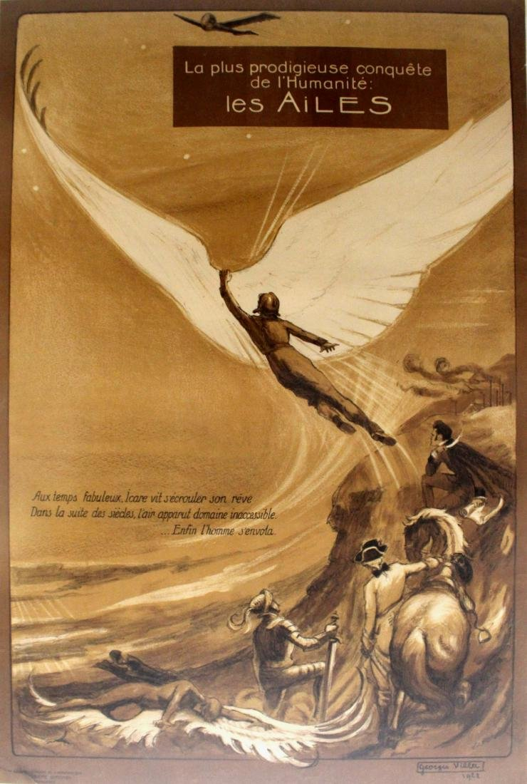 Advertising Poster Les Ailes Wings Icarus Aviation