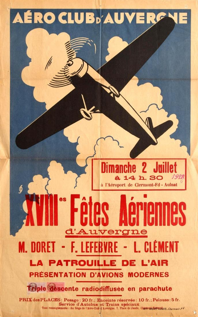 Advertising Poster Aero Club dAuvergne Air Show