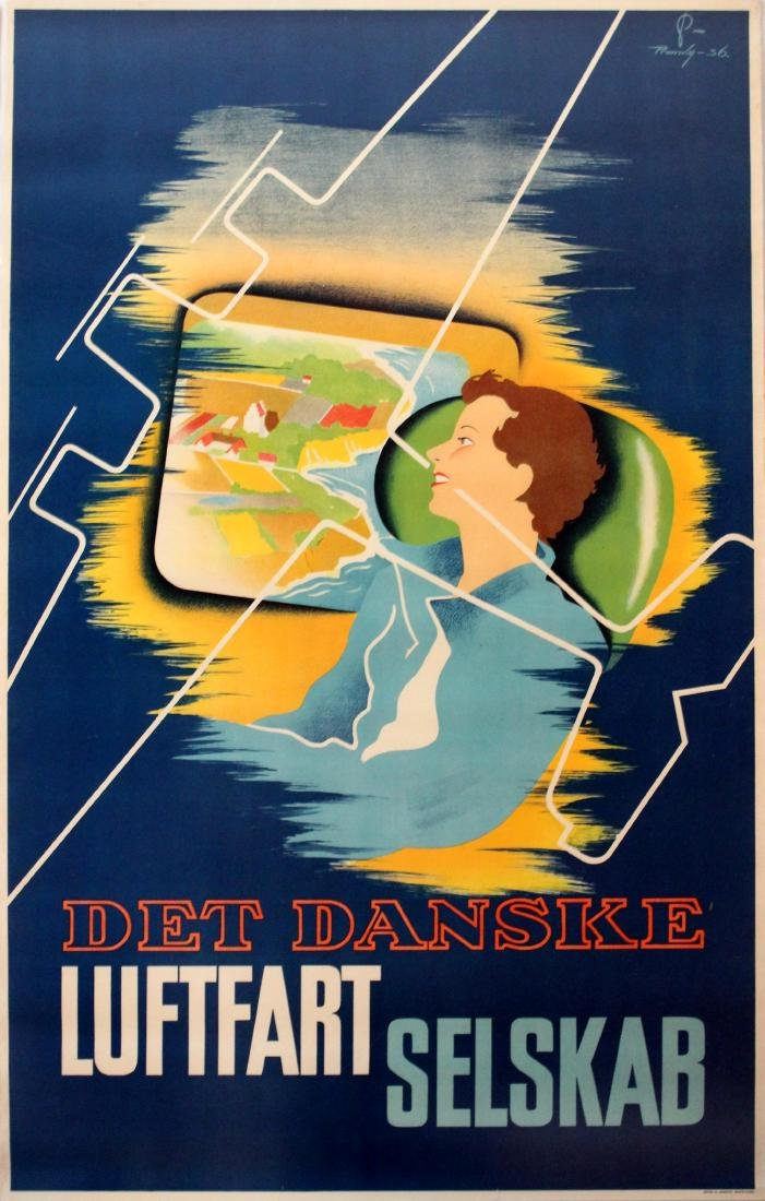 Advertising Poster Danish Airlines Luftfartselskab DDL