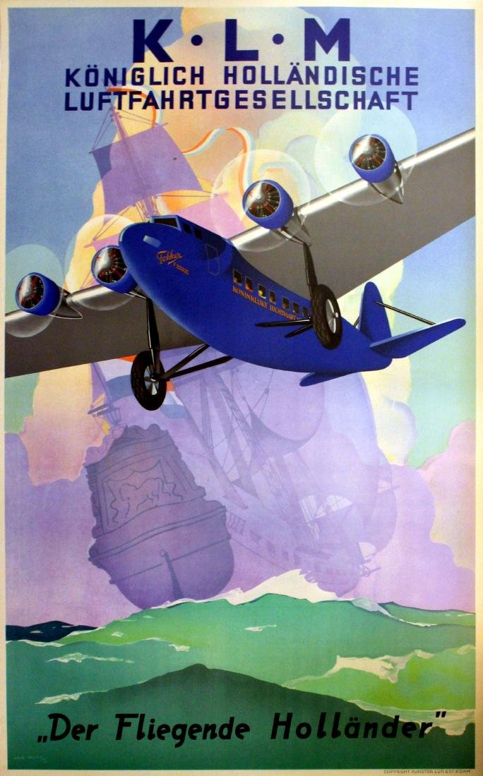 Advertising Poster KLM The Flying Dutchman Wijga