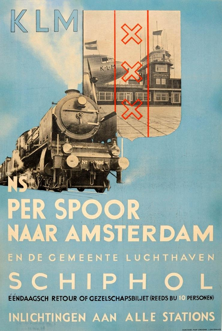 Advertising Poster Steam Train KLM Schiphol Airport