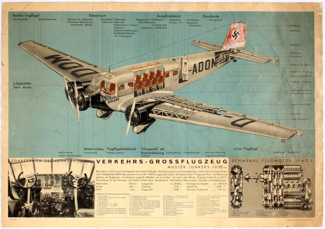 Advertising poster Lufthansa Nazi Third Reich Junkers