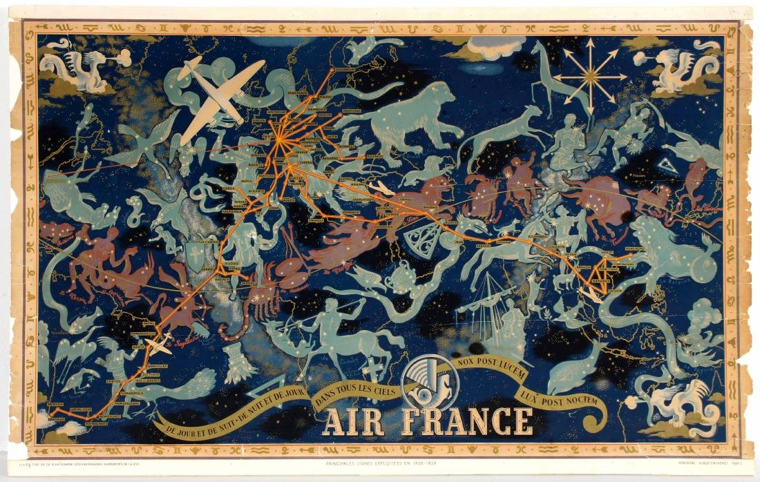 Travel Poster Air France Night Sky Constellation