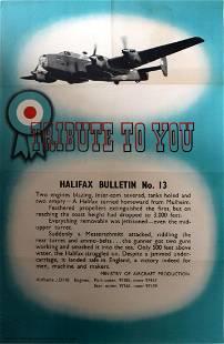 War Poster Halifax Bulletin WWII UK