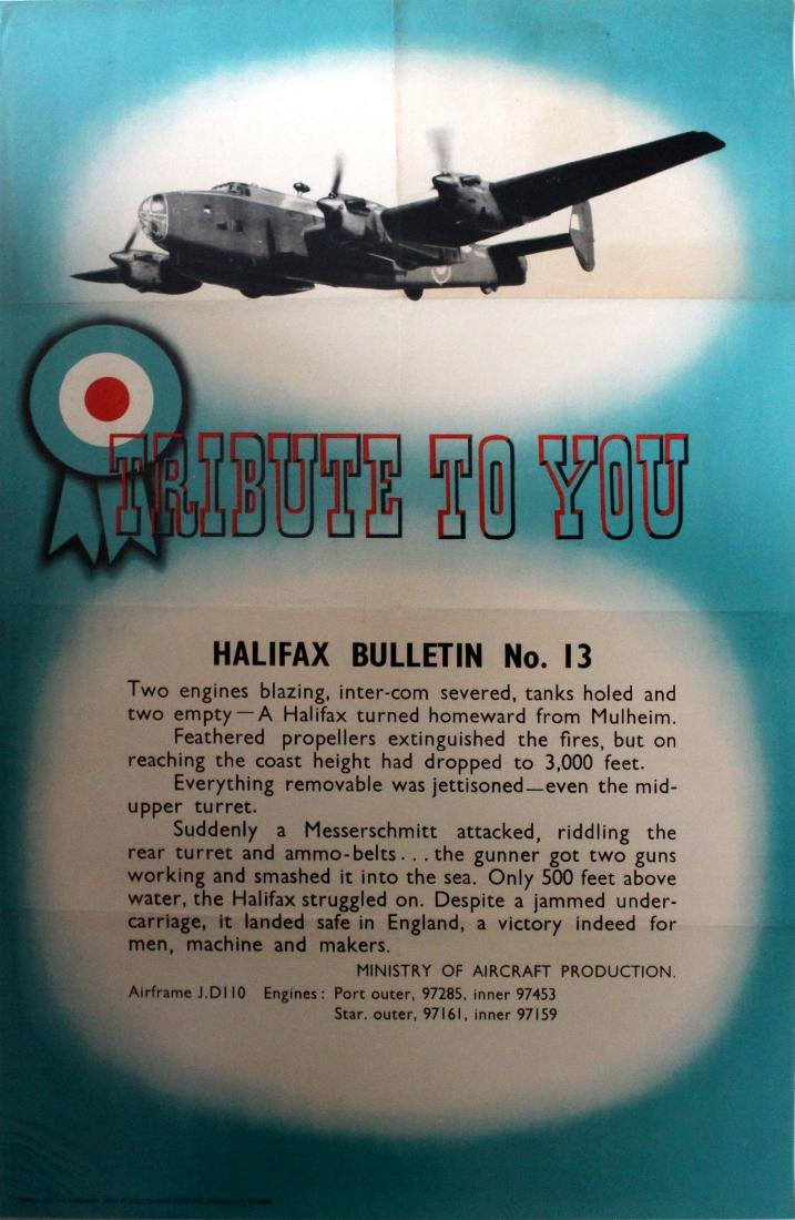 War Poster Halifax Bulletin WWII UK