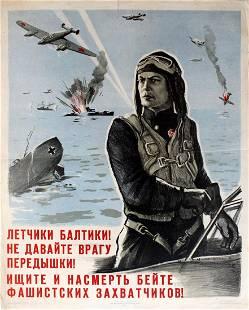 War Poster Fighter Pilots WWII Leningrad Baltic Fleet