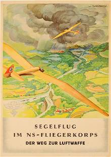 Propaganda Poster Segelflug Gliders NSFK Luftwaffe WWII