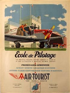 Advertising Poster Pilot School Air Tourist Beechcraft