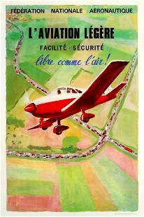 Advertising Poster Light Aircraft Easy Safe Free as a