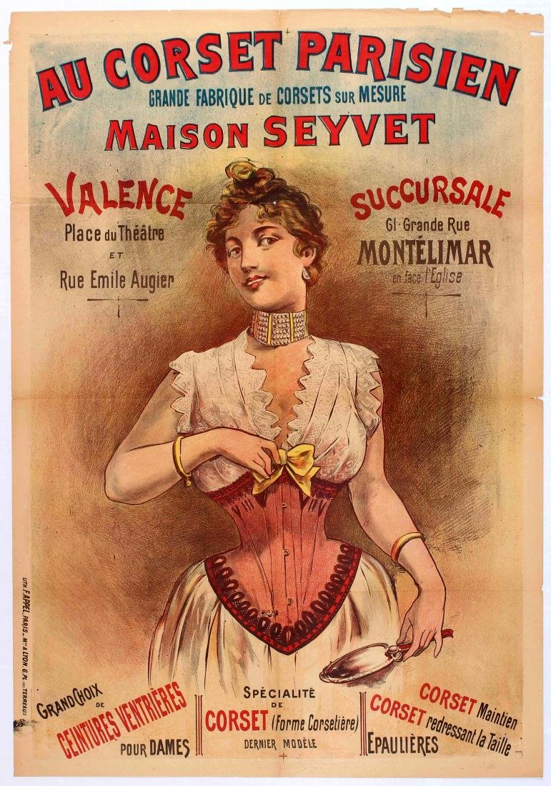 Original Advertising Poster Corset Paris Lingerie