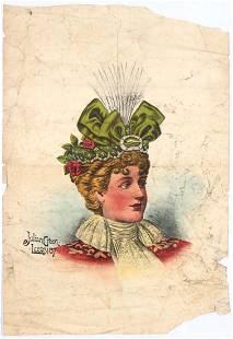 Original Vintage Advertising Poster Victorian Lady Hats