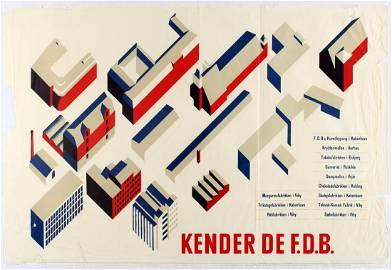 Original Advertsing Poster FDB Denmark Modernism
