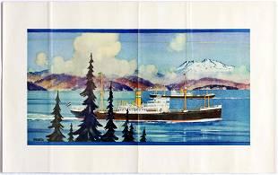 Original Travel Poster Kenneth Shoesmith Steamships