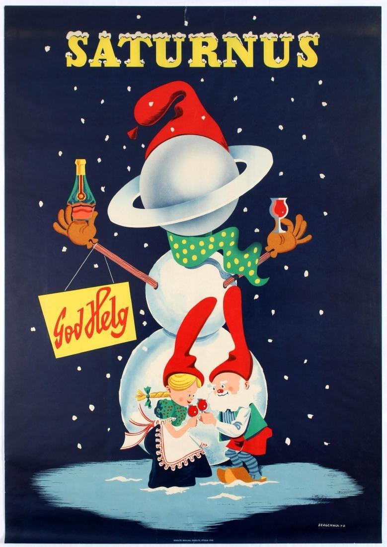 Original Advertising Poster Saturnus Alcohol Drinks