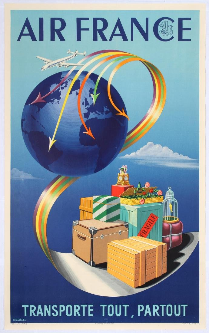Original Advertising Poster Air France Cargo Airline